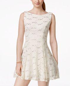 3f1d460a1 B Darlin Juniors' Sequined Lace Fit & Flare Dress & Reviews - Dresses -  Juniors - Macy's