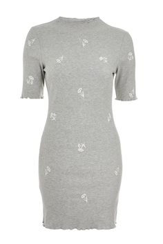 The bodycon dress gets a modern update with our embroidered floral design in grey marl. We're styling this dress with retro-inspired trainers for n effortless look. Floral Dress Outfits, Winter Dress Outfits, Casual Dress Outfits, Fashion Outfits, Dresses For Tweens, Daily Dress, Aesthetic Clothes, Pretty Outfits, Bodycon Dress
