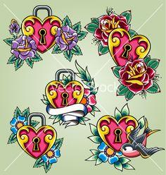 Bird heart and rose tattoo set vector on VectorStock