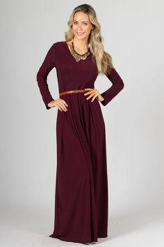 Long Sleeve Maxi Dress - Mulberry