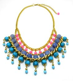 Neon pink Statement necklace Gemstone beaded by goldsparks on Etsy