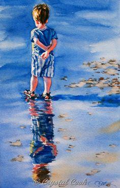 Watercolor painting original fine art little boy by CrystalCookArt