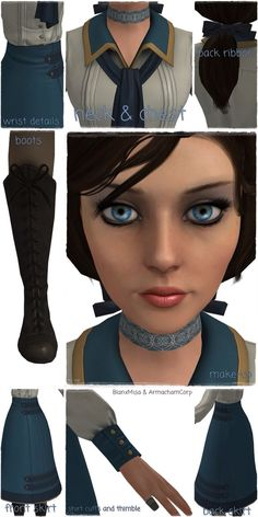 Thank to ~ArmachamCorp for rip the model of Elizabeth (Bioshock Infinite), I could made a little collage with all the references of her outfit. Bioshock Infinite Elizabeth, Elizabeth Cosplay, Bioshock Game, Bioshock Cosplay, Cosplay Ideas, Costume Ideas, Costumes, Anime, Character Ideas