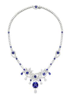 Necklace in 18K white gold set with brilliant-cut diamonds, pear-shaped diamonds, cushion-cut sapphire, round sapphires and pear-shaped sapphires. #Piaget #amythicaljourney #jewelry