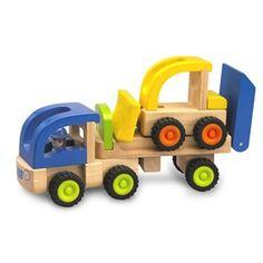 Houten trailer met graafmachine Wonderworld houten speelgoed