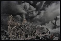 """<b>MaryAnne Golon, photo editor and media consultant; former Director of Photography of <i>TIME</i></b><br>  """"James Nachtwey's photograph here of one tiny New York City fireman making his way through the inferno that was once the World Trade Center towers is forever seared into my memory from the darkest day in American history, 9/11/2001. Later on that evening, Jim, completely covered in ash from the fallen World Trade Center towers, arrived in person at the Time and Life building in…"""