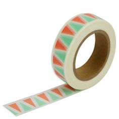 """- Coral & Mint Triangle Washi Tape - Package treats and gifts, or create cupcake flags with pretty coral and mint green triangle washi tape! - Acid free - 5/8""""(1.5cm) wide - 32 foot roll"""