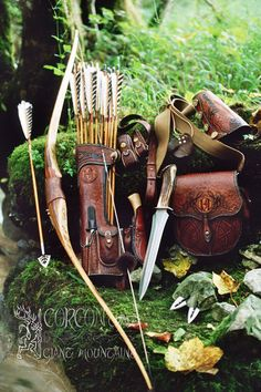 Beautiful leather bushcraft archery kit