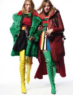 ko-no-ko:  Sandra Martens, Leni Rabbel by Thomas Schenk for Vogue Germany    Vogue Germany, November 2015Over-the-knee boots by VersaceFashion Editor: Nicola Knels & Maximilian AufschnaiterHair: Naoki KomiyaMake-up: Uli Wissel