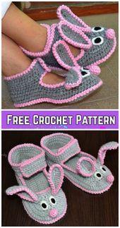 Crochet Women Bunny Slippers Patrón de ganchillo gratis y pago - Lidia Crochet Tricot, Gilet Crochet, Crochet Baby Booties, Crochet Slippers, Knit Crochet, Ravelry Crochet, Felted Slippers, Bunny Crochet, Crochet For Kids