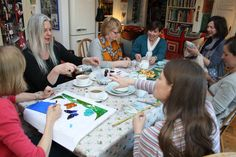 In 2014, we took a group stand at the Country Living Christmas Fair.  Around the table, Claire Moore of Bluebell Glass, Co-Director Teresa Mills of Teresa Mills Mosaics, Yolande Dennis of Originals by Yolande Dennis,  Co-Director Deborah Jones, Jane Wilkinson of Indigo & Rose, Izabela Motyl of Izabela Motyl, and Susan Day of Susan Day ceramics.