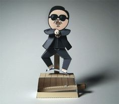 Gangnam Style Machine Automata Papercraft - by Kamibox == A cool paper toy automata of Psy, the Korean popstar that sings the megahit Gangna Style. This nice paper toy was created by German designer Kamibox. Psy Gangnam Style, Paper Machine, Papercraft Download, Matching Wedding Bands, Simple Machines, Paper Models, Paper Toys, Paper Crafting, Paper Art