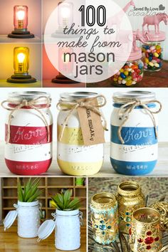 100 Mason Jar Crafts to make Roundup @savedbyloves