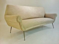 Saporiti style vintage sculptural three seater sofa, 1950`s, Italian @ www.roomscape.net