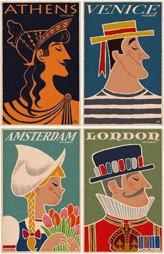 vintage travel posters - athens, venice, amsterdam, london.