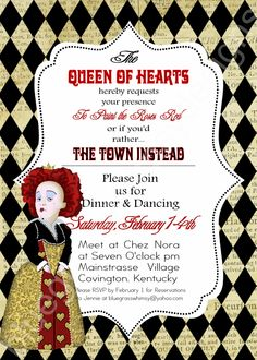 QUEEN OF HEARTS/ Alice in Wonderland- Valentine's Day Party Invitation 5x7 Red, Black, Tan. $15.00, via Etsy.