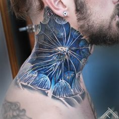Like dandelion seeds casting bodies in every direction but his own. Like dandelion seeds casting bodies in every direction but his own. O Tattoo, Color Tattoo, Body Art Tattoos, Hand Tattoos, Man With Tattoos, Dandelion Seeds, Dandelion Tattoos, Dandelion Flower, Blue Flowers
