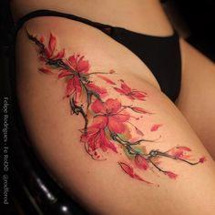 """""""Cherry Blossom."""" Tattoo feita na @dashclover  Watercolor Style  (Criações, agendamentos e orçamentos somente pessoalmente ou se você é de fora de São Paulo pelo -Mail: tattooyou@tattooyou.com.br ) Contato: (11) 3071-1393 -Studio TattooYou.  #tattoo #tattoos #watercolor #tattooyou #watercolortattoo #watercolortattooartist  #flordesakuratattoo #flordesakura #arvoredecerejeira #cherryblossom  #equillatera  #red #tattrx #supportgoodtattooers #inkedmag #inkedup"""