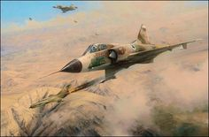 One MiG Down, by Robert Taylor  A formation of Mirages led by LtCol Avi Lanir, commander of 101 Squadron Israeli Air Force, intercepts MiG21's over the Syrian Desert on 9 November 1972. In the ensuing dogfight two of the Syrian MiG's are shot down, one of them from a direct hit by Lanir to score his second MiG victory.  ($320) #Aviation #Art