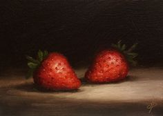 Two Strawberries Original Oil Painting still life por JanePalmerArt