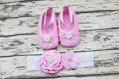 Crib shoes and matching lace headband by Personalizedkiddie