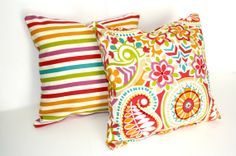Pair of 2 DECORATIVE PILLOW Covers - THROW Pillows - 18 x 18 inches - Waverly Paisley Striped. $34.00, via Etsy.