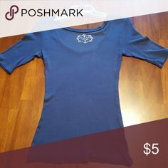 Derek Heart Henley shirt Navy blue sweater type material Derek Heart Tops Tees - Short Sleeve