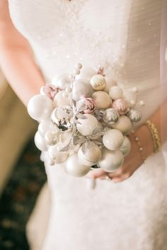 Christmas ornament bouquet, winter wedding, silver, white, pink // Lovly Studio