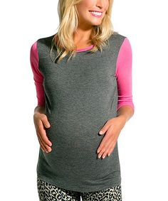 Take a look at this Charcoal & Pink Tellulah Maternity Top by Me2Roo on #zulily today!