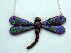 Inspirational /  Polymer Clay Dragonfly Necklace (Pick Any Color). $24.95, via Etsy.