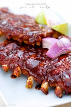 Baked Apple BBQ Pork Ribs from Color Me Meg