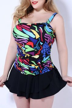 $21.60 Sweet Style Square Neck Colorful Printed Plus Size Swimwear For Women