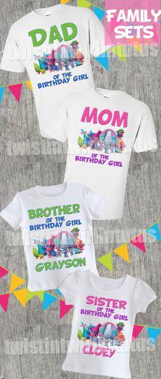 Trolls Birthday Party Ideas | Trolls Birthday Shirt | Trolls Family Shirt Set | Twistin Twirlin Tutus | #trollsbirthday http://www.twistintwirlintutus.com/products/troll-birthday-shirt-family-set