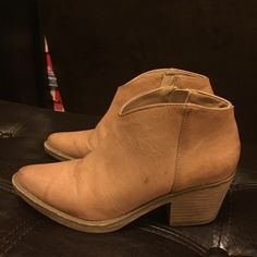 Tan ankle booties Size zipper, great condition and adorbs!  Super cute with short dresses and jeans Shoes Ankle Boots & Booties