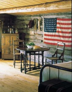 Cabin Decor Ideas - A gate leg table opens to make room for two or more to eat, then folds down to make more space in t - Diy Interior, Log Cabin Living, Independance Day, Little Cabin, Lake Cabins, Cozy Cabin, Cabin Homes, Cabins In The Woods, Rustic Decor