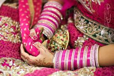 Hot pink chura, sikh bride indian wedding