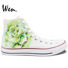 59.80$  Buy now - http://aliu4n.worldwells.pw/go.php?t=32686794006 - Wen Original Hand Painted Shoes Design Custom Succulent Plant White High Top Men Women's Canvas Sneakers for Gifts 59.80$