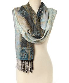 Look at this #zulilyfind! Brown Metallic Paisley Fringe Scarf #zulilyfinds