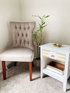 I was searching online for a glam look nightstands, but they were just overpriced for me. Starting from this point I've had the idea of turning my kids old nightstand to what you will see here. So. Let's started. Before Chest Of Drawers Makeover, Set Of Drawers, Diy Nightstand, Nightstands, Vintage China Cabinets, Diy Tv Stand, Furniture Makeover, Furniture Refinishing, Furniture Ideas