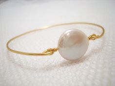 Coin pearl bracelet gold bangle bracelet by treasures570 on Etsy, $21.00