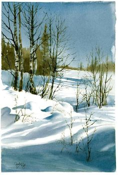 Landscape Drawing for Santa Maria Della Neve Watercolor Pictures, Watercolor Trees, Watercolor Landscape, Watercolor And Ink, Watercolor Painting, Painting Snow, Winter Painting, Winter Art, Landscape Drawings