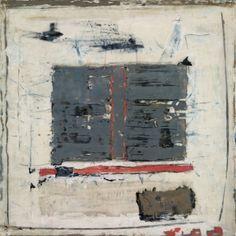 marilyn jonassen  Grey and Coral, 2007, encaustic on clay board, 16in x 16in x 2in