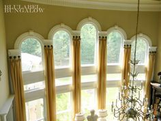 Two Story Window Treatments Arched Windows Two Story Windows, Tall Windows, Arched Windows, Tall Window Treatments, Window Coverings, Shaped Windows, Interior Design Advice, Drapery Panels, Window Dressings
