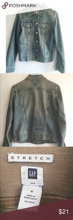 "Basic Jean jacket Rustic faded look  Great condition  Gap medium  18"" wide  22"" long GAP Jackets & Coats Jean Jackets"