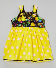 Another great find on #zulily! Pink & Yellow Polka Dot 'Happy Birthday' Dress - Toddler & Girls #zulilyfinds