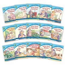 The Joy Cowley Early Birds Big Book Set contains a copy of each of the 15 big books in the Wishy-Washy (Blue) set of Joy Cowley Early Birds. All books feature the character Mrs. Wishy-Washy. Guided reading level range: C–G.  Joy Cowley Early Birds are fantastic tools to introduce poetry, rhyme, and alliteration, as well as entertain students with adventures of memorable Joy Cowley characters. The big book versions are great for shared reading and whole-group activities. First Grade Words, Leveled Books, Guided Reading Levels, Alliteration, Shared Reading, First Grade Classroom, Group Activities, Early Bird, Read Aloud