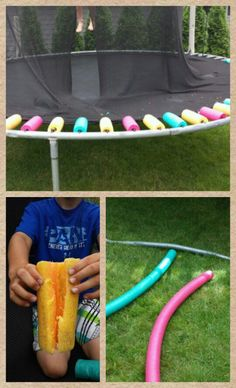 Trampoline fun..cover tramp springs with water noodles..cut to spring length, slit half open and fit over spring. Safer jumping!!