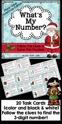 20 Christmas-themed place value task cards! Each card has three Christmas trivia clues with numerical answers.  Follow the clues, solve the puzzle--a fun way for children to practice and review basic math concepts and place value through the hundreds place!  Perfect for centers, independent work, or a whole class activity.