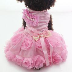New arrival Pet Dog Princess Dress Tutu Rosette&bow Dresses Cat Puppy Skirt clothes  2 colours