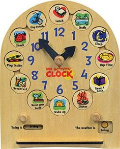 My Activity Clock is a fully interactive educational toy for toddlers. Made in Middlebury, Vermont, the clock is cut from hardwood plywood measuring 10 wide and tall with a slot stand for easy play. The clock has 12 removable activity disks that Educational Toys For Toddlers, Preschool Activities, Infant Activities, Toddler Clock, Learn To Tell Time, Clock For Kids, Gross Motor Skills, Toddler Toys, Toddler Stuff